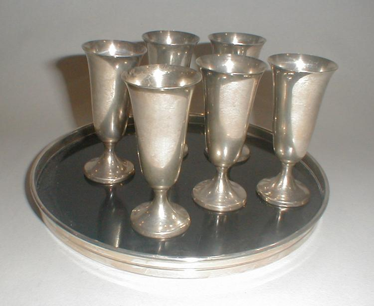 Set of Gorham Sterling Liquors cordials with Sterling Rimmed Tray. Stems are 2.75