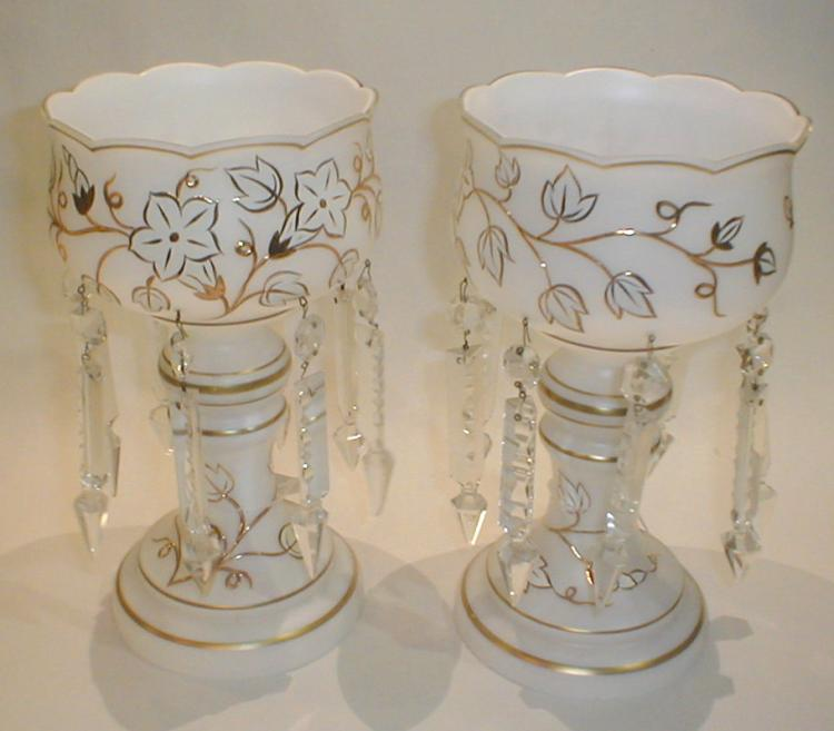 Pair of West German 1970's white glass lusters with crystal prisms and gold enamel floral pattern