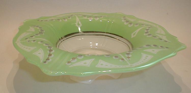 Deco footed bowl with White & Green flashing, with silver overlay dot pattern