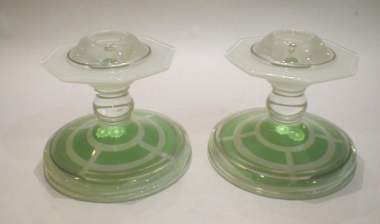 Pair of Deco Green glass candlesticks with flashing and overlay