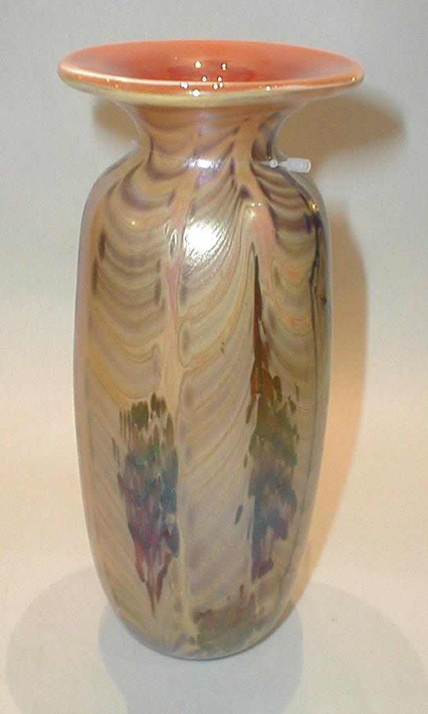 Iridescent modern Art Glass Vase. 8.75
