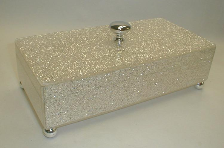 Lucite and Glitter dresser top jewel box. 10.5 x 5.25
