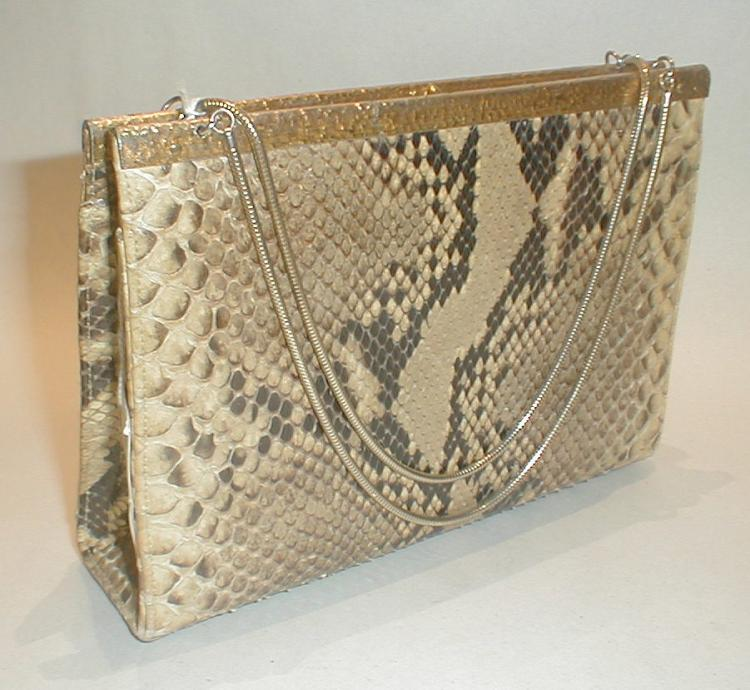 Vintage Python handbag with attached coin purse