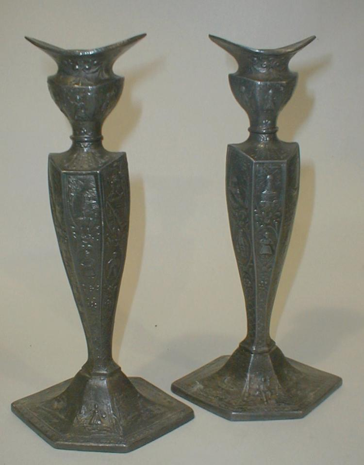 Pair of Deco silver plated Candlesticks. 10