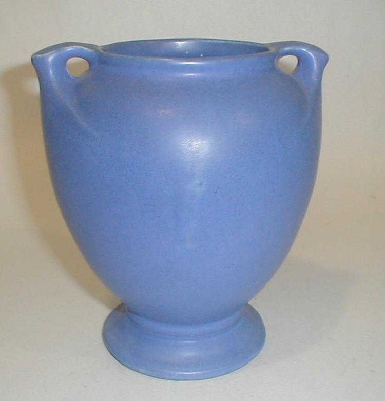 Vintage Matt Blue Art Pottery Vase. 7