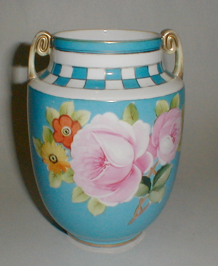 Hand painted Nippon porcelain Vase. 6 3/4