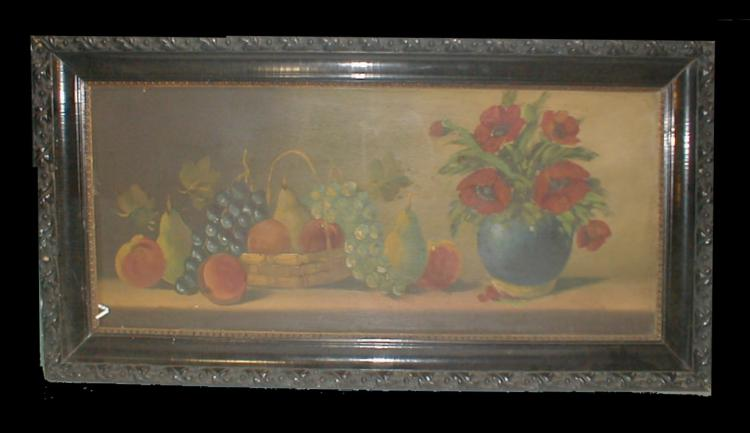 Old Still Life painting on panel in a black lacquered frame. circa 1920-30's