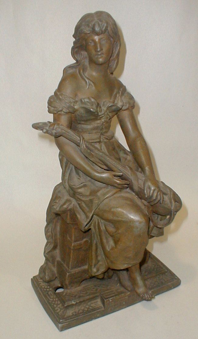 Antique White Metal patinated Lamp Figure of Maiden with Lute. has wiring holes. 16.25