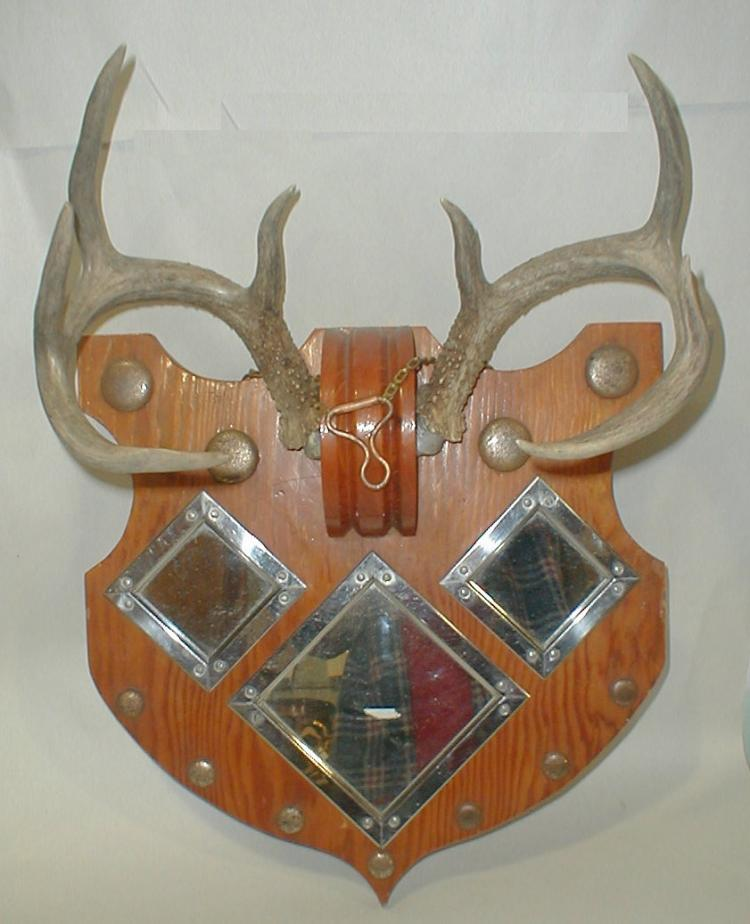 Set of Deer Antlers mounted on a shield shaped mirrored plywood plaque. Mid 20th century
