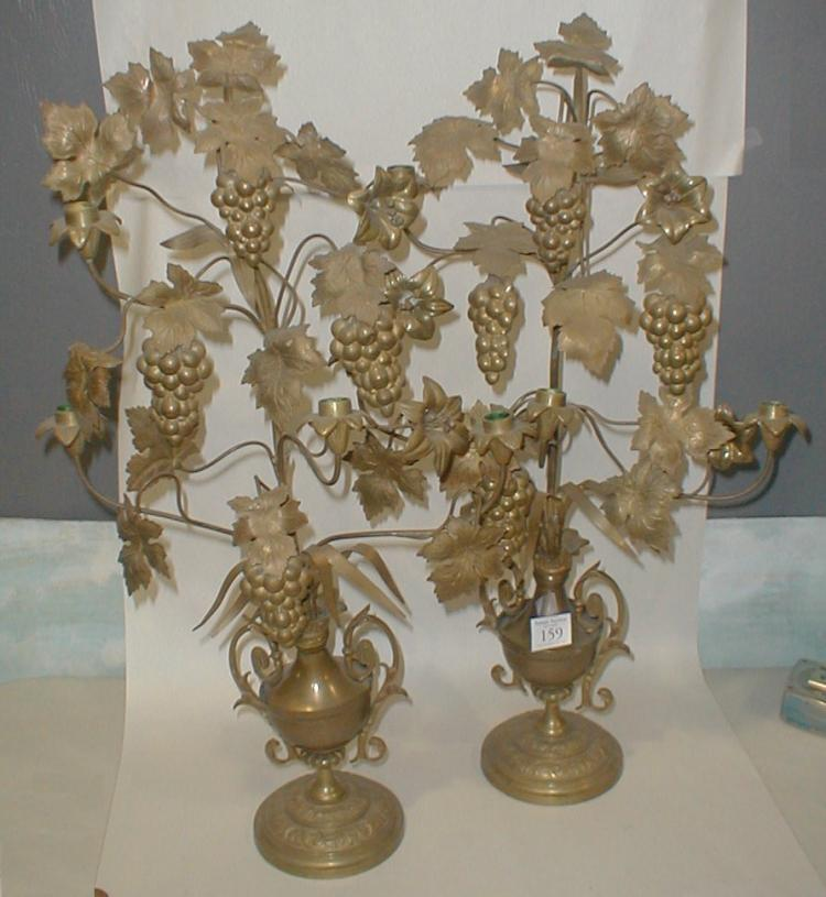 Pair of European Continental Gold patinated Grape form Candle Holder. 27