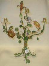 Italian wrought iron foliage three arm candle holder with blossoms and leaves. 20.5