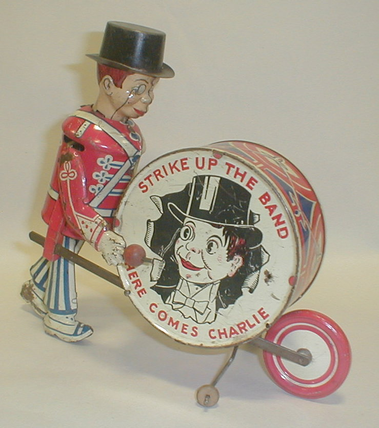 Louis Marx & Co tin litho toy Charlie McCarthy wind up Drummer Boy.