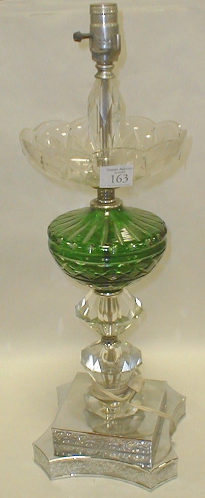 Crystal lamp: table lamp with imported cut crystal spacers, green cut to clear center. Standing on two step deco style chrome base. 24