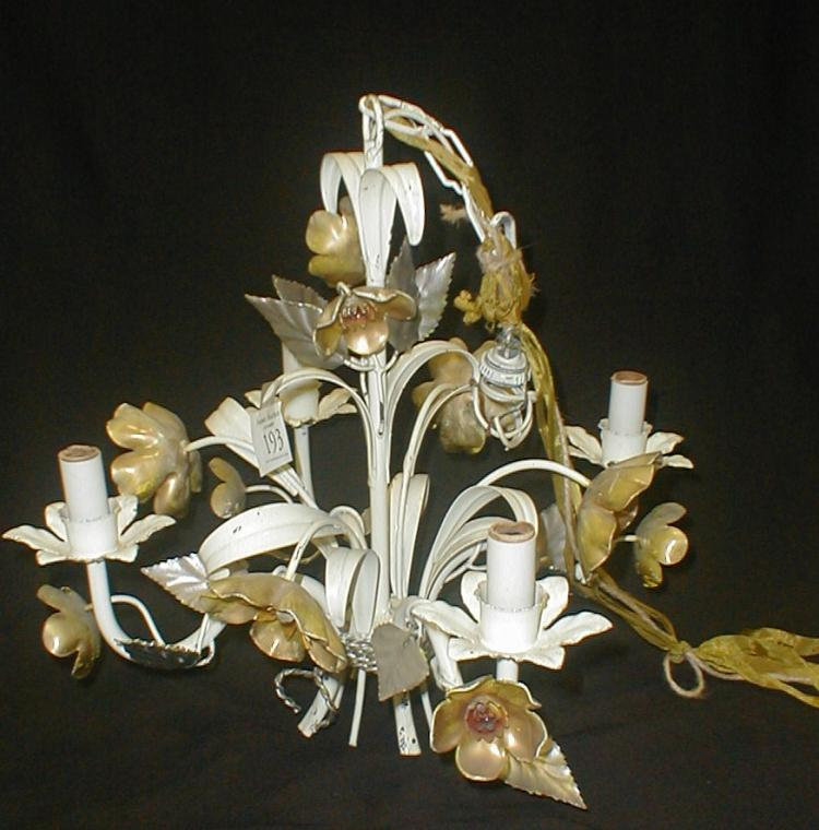 Italian hanging metal floral four arm chandelier. Painted white and gold. 15.5