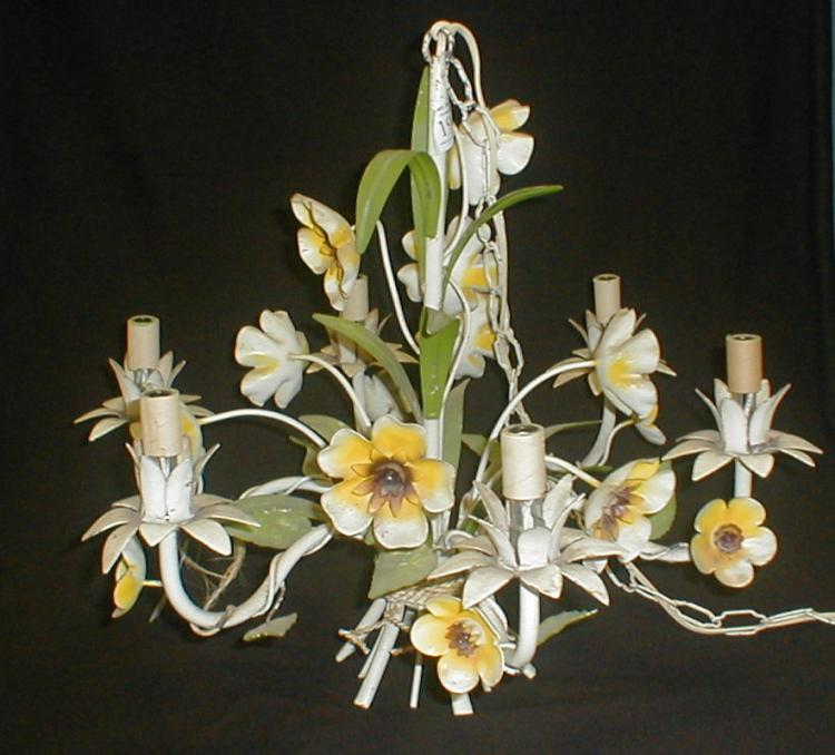 Italian hanging metal floral six arm chandelier. Painted white, yellow and green. 18.75