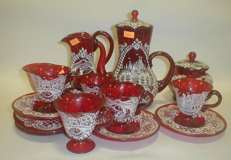 Venetian ruby glass tea set with white enamel decoration. Purchased in Italy in 1949. Tallest is 7.5