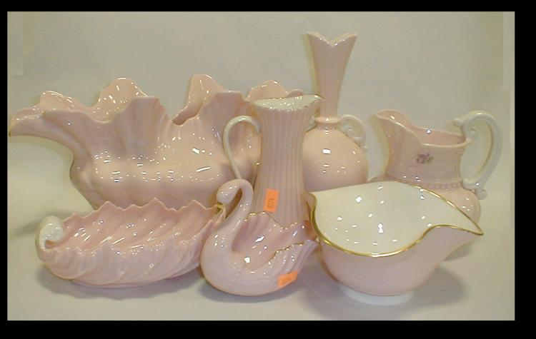 Seven pieces of Lenox pink porcelain
