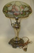 Pairpoint silver plated lamp with inside painted glass shade. Height including shade is 20.5