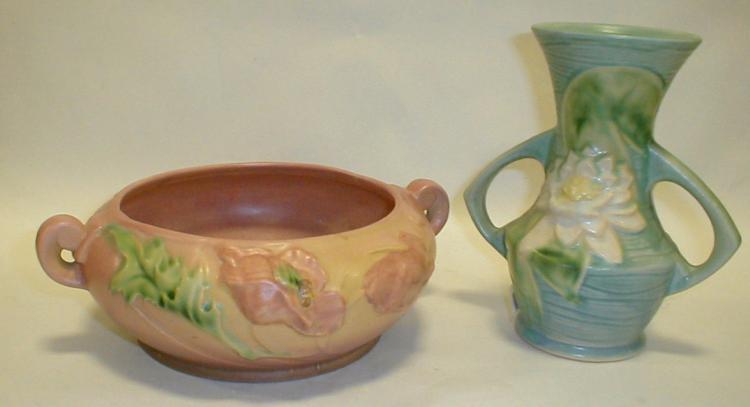 Two Roseville art pottery vases: 73-6