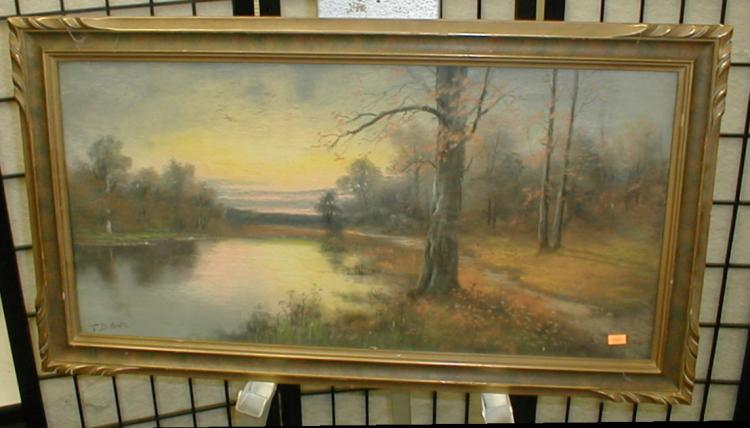 Landscape pastel painting in in frame under glass. Signed lower left T. Brown. Frame is 31.5 x 17.5