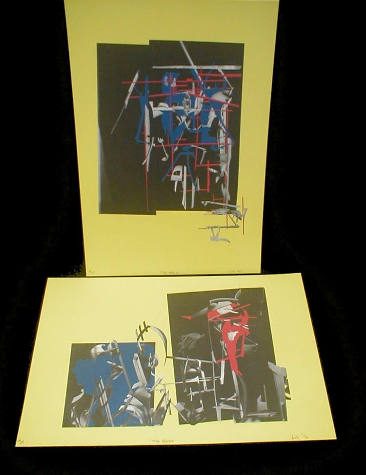 Pair of industrial deconstructionist abstract offset lithograph prints by Northwest artist L. Graeme. Signed L.G. and dated 96. Titled