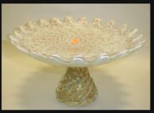Art glass compote with copper flecks. 6.25