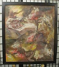 Kenneth Callahan (1905-1986) abstraction painting on loose canvas depicting depicting inferno figures.  Has Seattle artresourse gallery label.  25 x 29