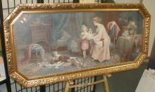 Large framed print. Depicts interior scene of mother with three children. Frame is 51.75