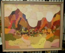 Lucille Geoghegan mid-century cubist landscape painting on canvas board. 30x24