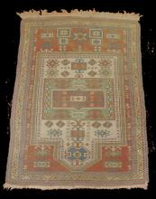 Hand knotted low pile prayer rug. 5'3
