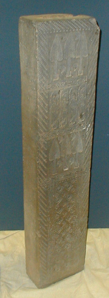 Chinese Han clay tomb column with carving and impressions.  49