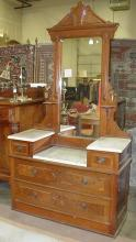 Victorian drop well marble top vanity. Features pin dovetails , candle stands, beveled marble. ca 1880's
