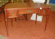 1940's demilune mahogany desk with Marshall Fields label