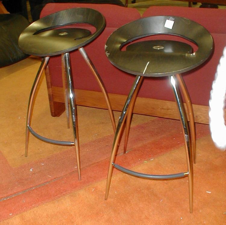 Pair Of Lyra Italian Modern Bar Stools One As Is