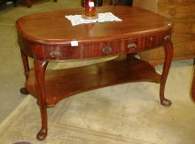 Oval desk with Queen Anne legs One drawer as is