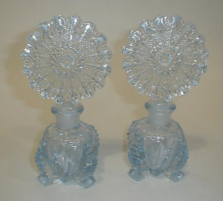 Pair of Aqua Blue Glass Perfume Bottles. 6 3/4