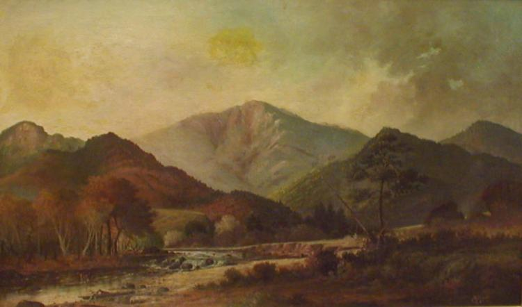 TIGNAL FRANKLIN COX(1854-1940) A PANORAMIC 19TH CENTURY WESTERN OIL ON CANVAS. SIGNED AND DATED LOWER RIGHT