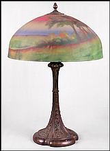 BRONZE AND REVERSE PAINTED GLASS TABLE LAMP.