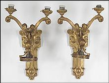 PAIR OF ARTS & CRAFTS THREE-LIGHT WALL SCONCES.
