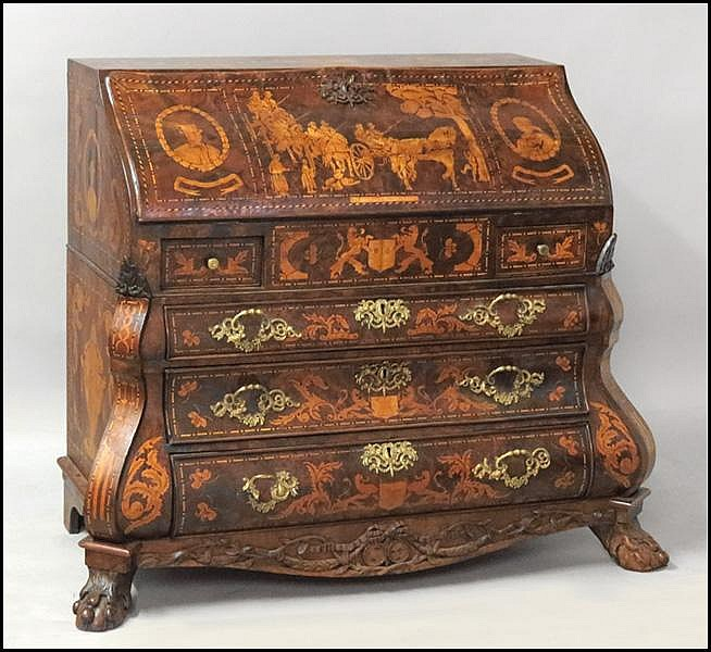 EARLY 18TH CENTURY DUTCH BAROQUE BOMBE SECRETARY.