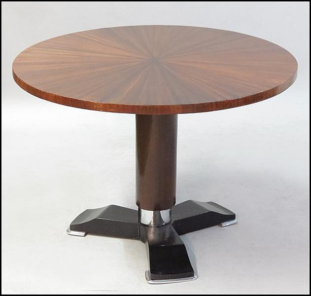 ART DECO STYLE MAHOGANY AND EBONY ROUND TABLE.