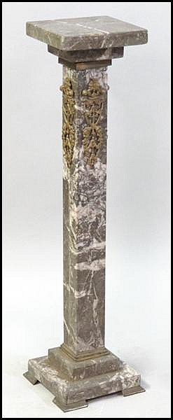 BRONZE MOUNTED MARBLE PEDESTAL.