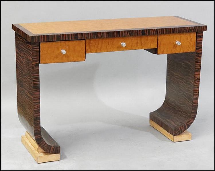 ART DECO BIRD'S EYE MAPLE AND MACASSAR CONSOLE TABLE.