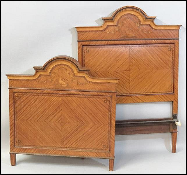 PAIR OF ENGLISH SATINWOOD BED FRAMES.