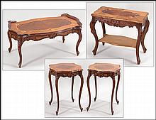 SUITE OF MARQUETRY INLAY MAHOGANY TABLES.