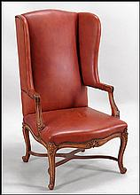 LOUIS XV STYLE UPHOLSTERED WINGBACK OPEN ARMCHAIR.