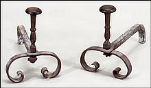 PAIR OF SCROLL FORM ANDIRONS.