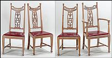SET OF FOUR PICKLED PINE CHAIRS.