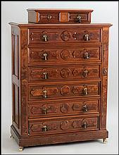 MAHOGANY CHEST OF DRAWERS.