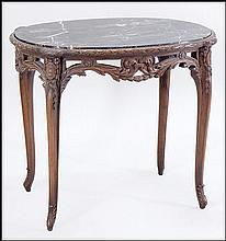 FRENCH CARVED WALNUT MARBLE TOP OCCASIONAL TABLE.
